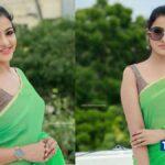 chithu-vj-latest-stills-in-green-saree