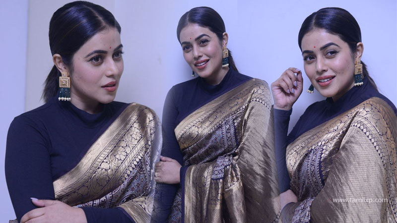 Tamil Actress Poorna blue Saree Stills